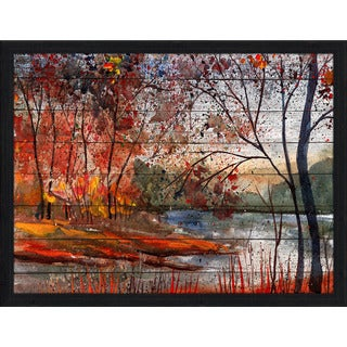 Autumn Lake' Giclee Wood Wall Decor