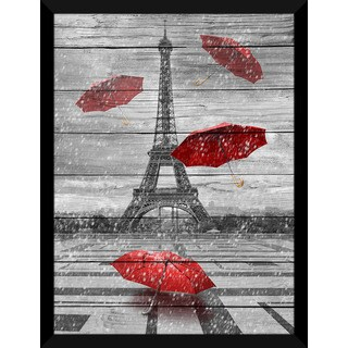 Four Umbrellas, Paris Giclee Wood Wall Decor