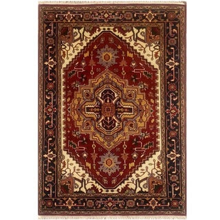 Herat Oriental Indo Hand-knotted Serapi Wool Rug (4'2 x 6'2)