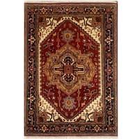Herat Oriental Indo Hand-knotted Serapi Wool Rug (4'2 x 6'2) - 4'2 x 6'2