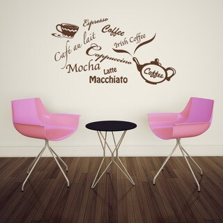 Coffee Types Wall Decal Vinyl Art Home Decor