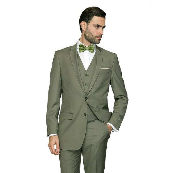 Statement Men's Lorenzo Olive Italian Wool 3-piece Slim Fit Suit ...