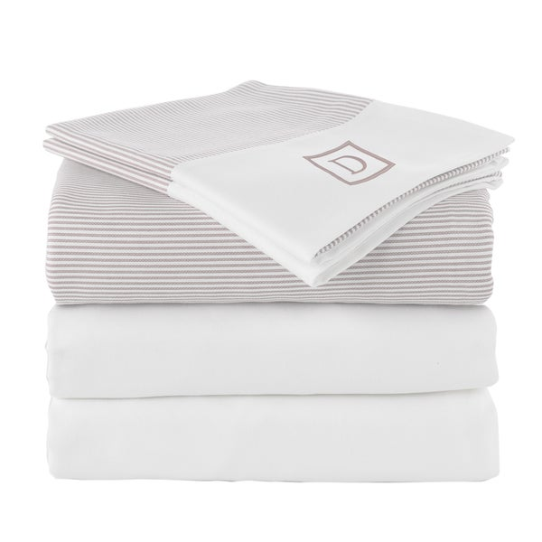 Pamuk Luxury Monogrammed Taupe Beige Stripe 300 Thread Count 100-percent Turkish Cotton 5-piece Duvet Cover and Sheet Set