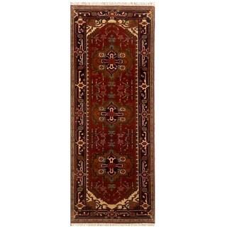Herat Oriental Indo Hand-knotted Serapi Red/ Black Wool Runner (2'6 x 8')
