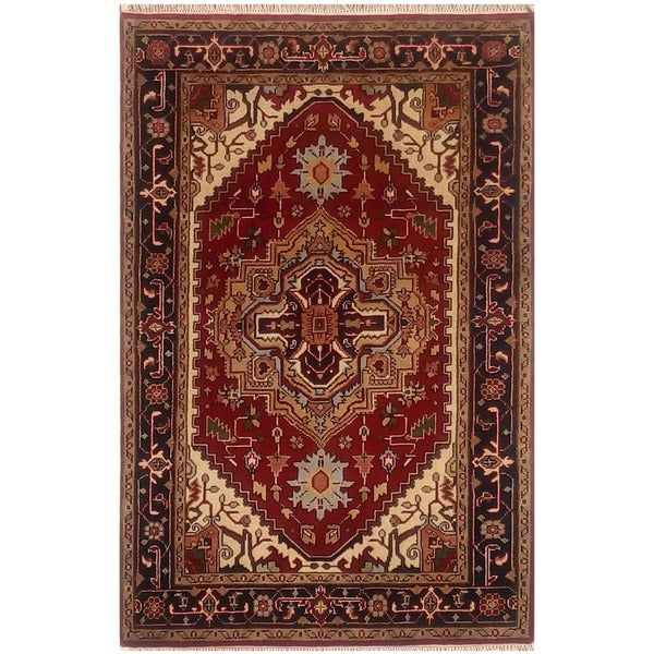 Herat Oriental Indo Hand-knotted Serapi Wool Rug (4'1 x 6'5)