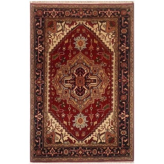 Herat Oriental Indo Hand-knotted Serapi Red/ Black Wool Rug (4'1 x 6'5)