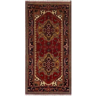 Herat Oriental Indo Hand-knotted Serapi Red/ Black Wool Runner (2'7 x 6')
