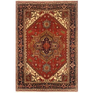 Herat Oriental Indo Hand-knotted Serapi Red/ Black Wool Rug (4'1 x 6')
