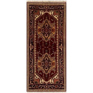 Herat Oriental Indo Hand-knotted Serapi Wool Runner (2'7 x 6')