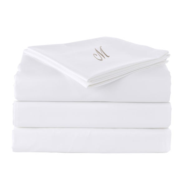 Pamuk Luxury Monogrammed Soft White Solid 300 Thread Count 100-percent Turkish Cotton 5-piece Duvet Cover and Sheet Set