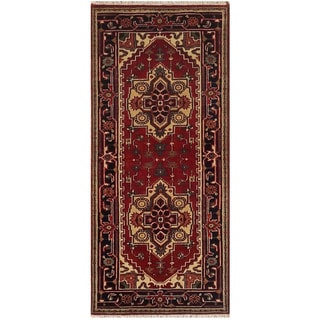 Herat Oriental Indo Hand-knotted Serapi Red/ Navy Wool Runner (2'7 x 6')