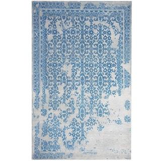 Herat Oriental Indo Hand-tufted Khotan Ivory/ Blue Wool Rug (8' x 10')