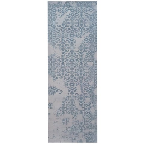 Handmade Printed Erased Khotan Wool Runner (India) - 2'8 x 10'