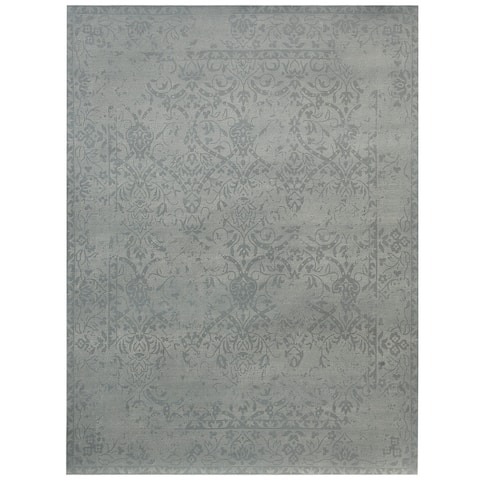 Handmade Printed Erased Khotan Wool Rug (India) - 7'6 x 9'6