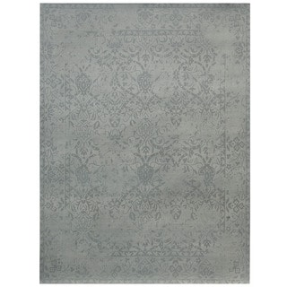 Herat Oriental Indo Hand-tufted Printed Erased Khotan Ivory/ Grey Wool Area Rug (7'6 x 9'6)