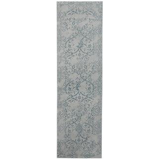 Herat Oriental Indo Hand-tufted Printed Erased Khotan Ivory/ Blue Wool Runner (2'8 x 10')