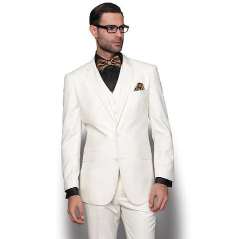 Statement Men's Lorenzo Cream Italian Wool 3-piece Slim Fit Suit