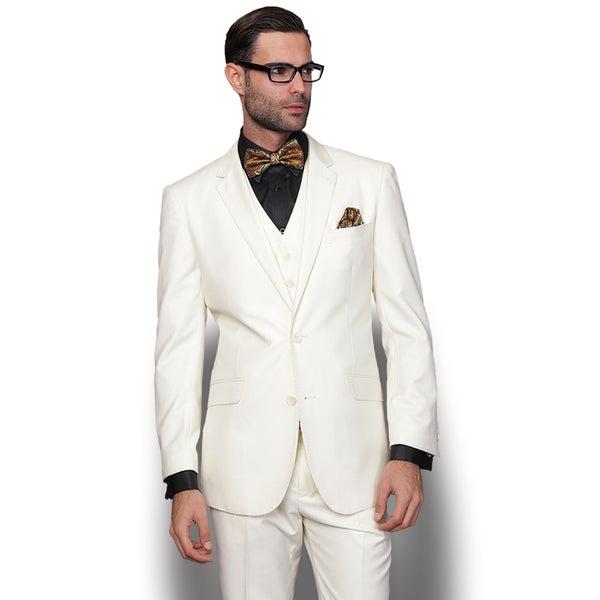 Statement Men's Lorenzo Cream Italian Wool 3-piece Slim Fit Suit ...