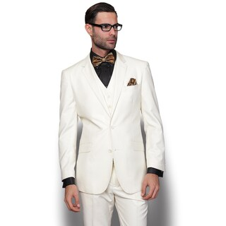 Statement Men's Lorenzo Cream Italian Wool 3-piece Slim Fit Suit