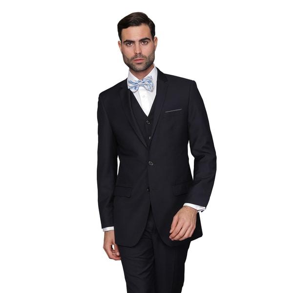 fb2e3b931857 Shop Statement Men's Lorenzo Navy Italian Wool 3-piece Slim Fit Suit ...
