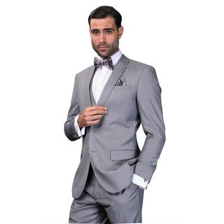 Statement Men's Lorenzo Grey Italian Wool 3-piece Slim Fit Suit