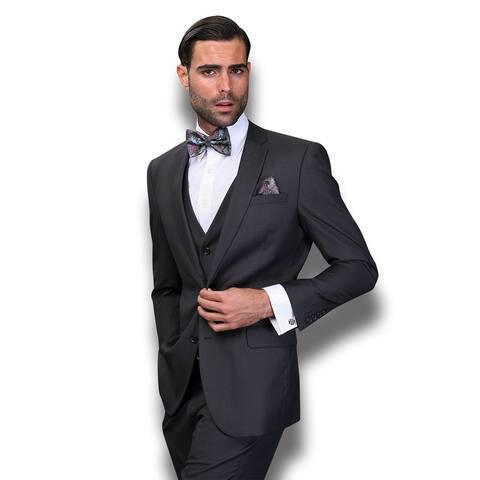Statement Men's Lorenzo Charcoal Grey Italian Wool 3-piece Slim Fit Suit
