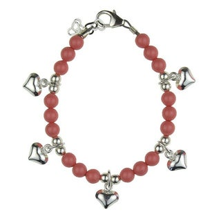 Luxury Pink Coral Pearls with Sterling Silver Puffy Heart Charms Baby Bracelet