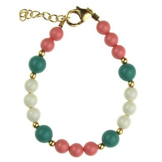 Mint and Pink Coral Pearl Baby Bracelet