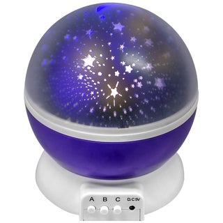 Purple Concepts Moon and Star 360-degree Rotating LED Projection Lamp
