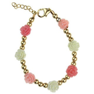 Flower Girl Gold Beads with Pink, Rose and White Flowers Baby Bracelet