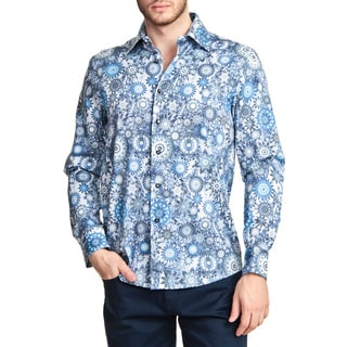 TR Premium's Geometric Printed Long Sleeve Button Down Shirt