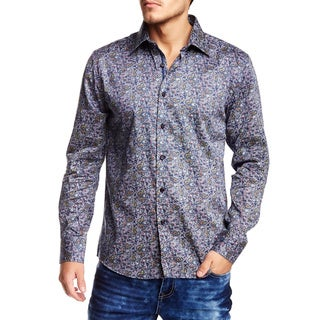 TR Premium's Purple Paisley Printed Long Sleeve Button Down Shirt