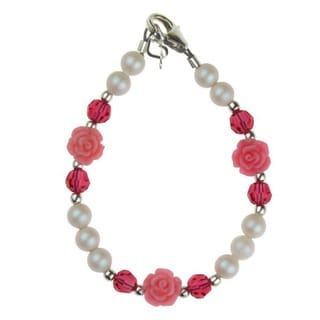 Adorable Iridescent Scattered Flowers and Crystals Baby Bracelet
