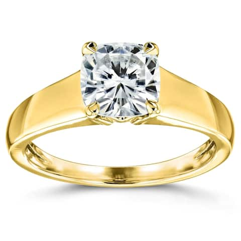 Annello by Kobelli 14k Yellow Gold 1 1/10 Carat Cushion Moissanite Classic 4-Prong Wide Solitaire Ring (GH/VS)