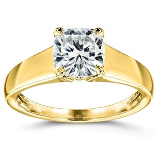 Annello by Kobelli 14k Yellow Gold 1 1/10 Carat Cushion Moissanite Classic 4-Prong Wide Solitaire Ring (HI/VS)