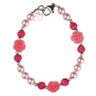 Adorable Pink Scattered Flowers and Crystals Baby Bracelet