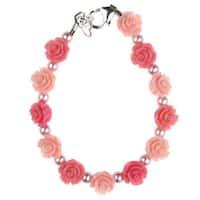 Crystal Dream Luxury Pink and Rose Flower Girl Pink Pearls Infant Girl Bracelet