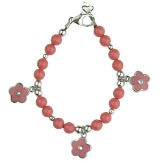 Crystal Dream Elegant Flowerl Pink Coral Pearls and Enamel Flowers Toddler Girl Bracelet