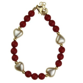 Adorable Red and Ivory Austrian Crystal Pearl Heart Gold Baby Bracelet