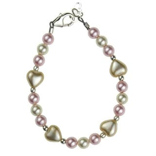 Adorable Pink and Ivory Austrian Crystal Pearl Heart Baby Bracelet