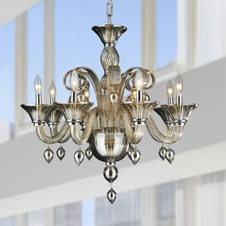 Murano Venetian Italian Style 8 lights Blown Glass in Golden Teak Finish Chandelier