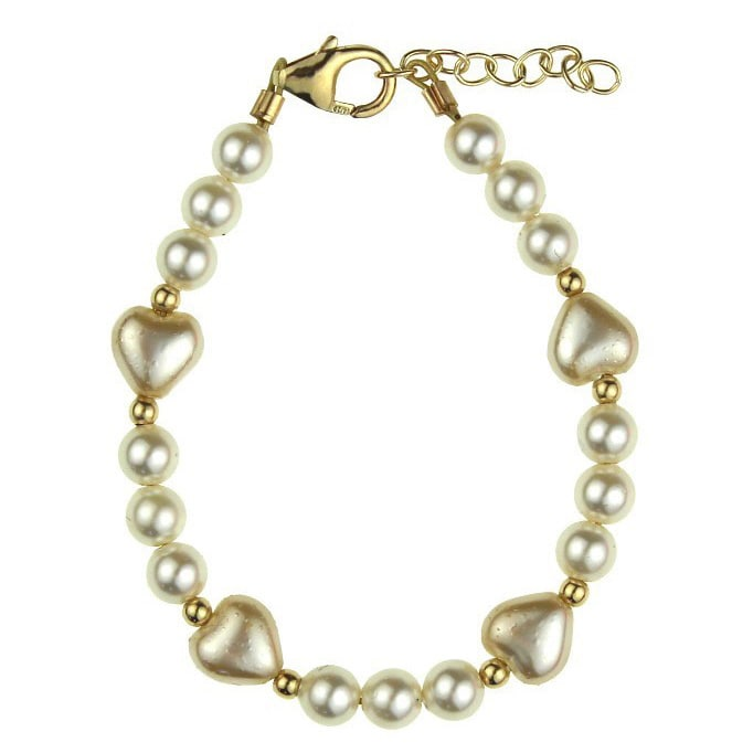 Shop Crystal Dream Luxury Ivory Crystal Pearl Heart Gold Baby