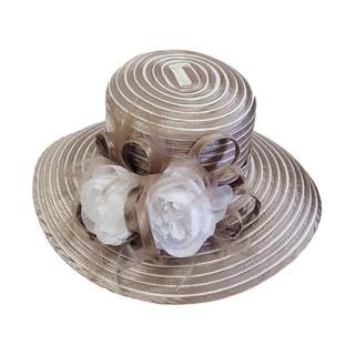 "Swan Hat, Womens ""All Year Around"" Crinolin Bow, Stripes Satin Ribbon Dressy Hat"