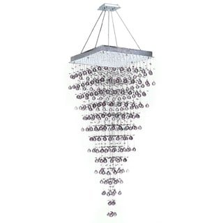 Crystal Rain 10-light Polished Chrome Finish Suspension Modern Chandelier