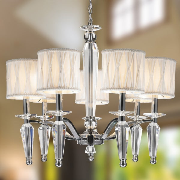 Contemporary 7 Light Chrome Finish And Clear Crystal Chandelier With Shade