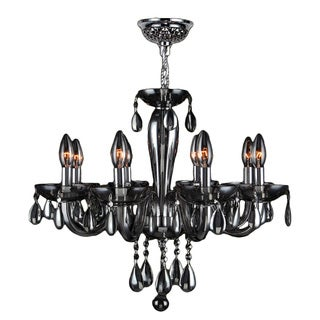 Venetian Italian Style 8-light Chrome Finish and Smoke Blown Glass Contemporary Chandelier