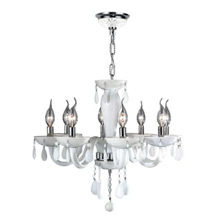 Venetian Italian Style 8-light Chrome Finish and White Blown Glass Contemporary Chandelier