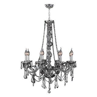 Venetian Italian Style 8-light Chrome Finish and Smoke Crystal Candle Chandelier