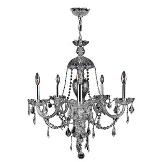 Venetian Italian Style 7-light Chrome Finish Crystal Candle Chandelier