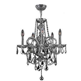 Venetian Italian Style 5-light Chrome Finish and Chrome Crystal Candle Chandelier